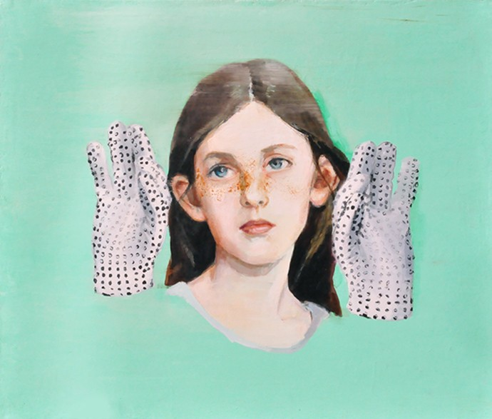 DALMATIAN GIRL WITH JACKO GLOVES